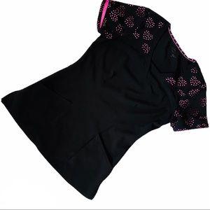 Heartsoul Black Pink Scrub Top Sz XS